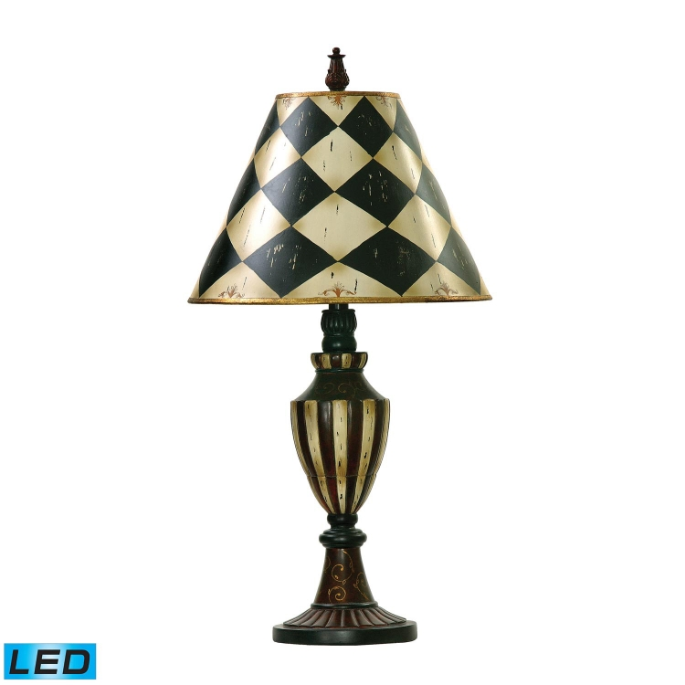 91-342-LED Harlequin and Stripe Urn Table Lamp - Black / Antique White