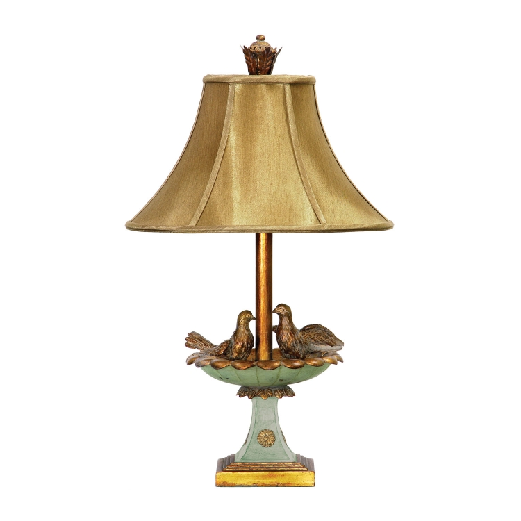 91-786 Love Birds In Bath Table Lamp - Gold Leaf / Grantsmoth Green