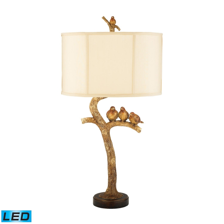 93-052-LED Three Bird Light Table Lamp - Gold Leaf / Black