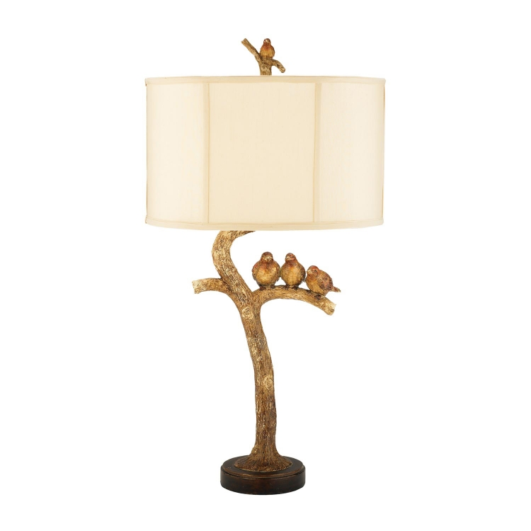 93-052 Three Bird Light Table Lamp - Gold Leaf / Black