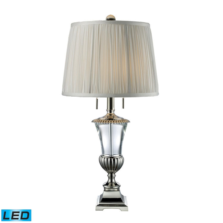 D1807-LED Bunting Table Lamp - Polished Nickel and Clear Crystal