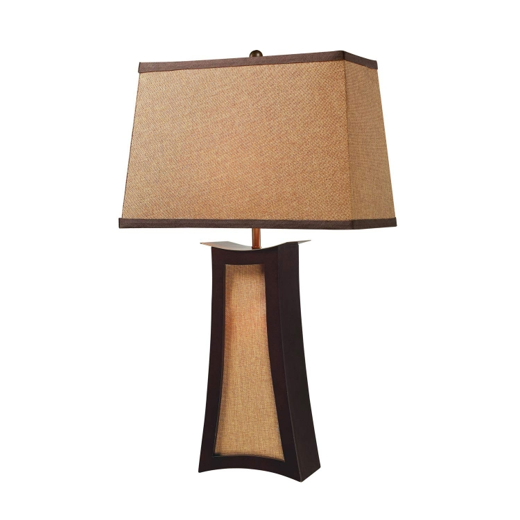 D1834 Convergence Table Lamp - Wood and Natural Linen