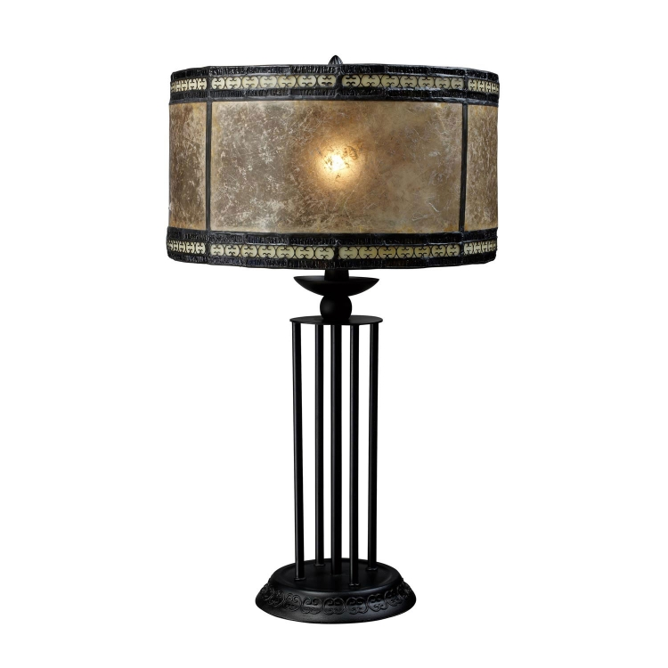 D1849 Mica Filagree Table Lamp - Antique Black