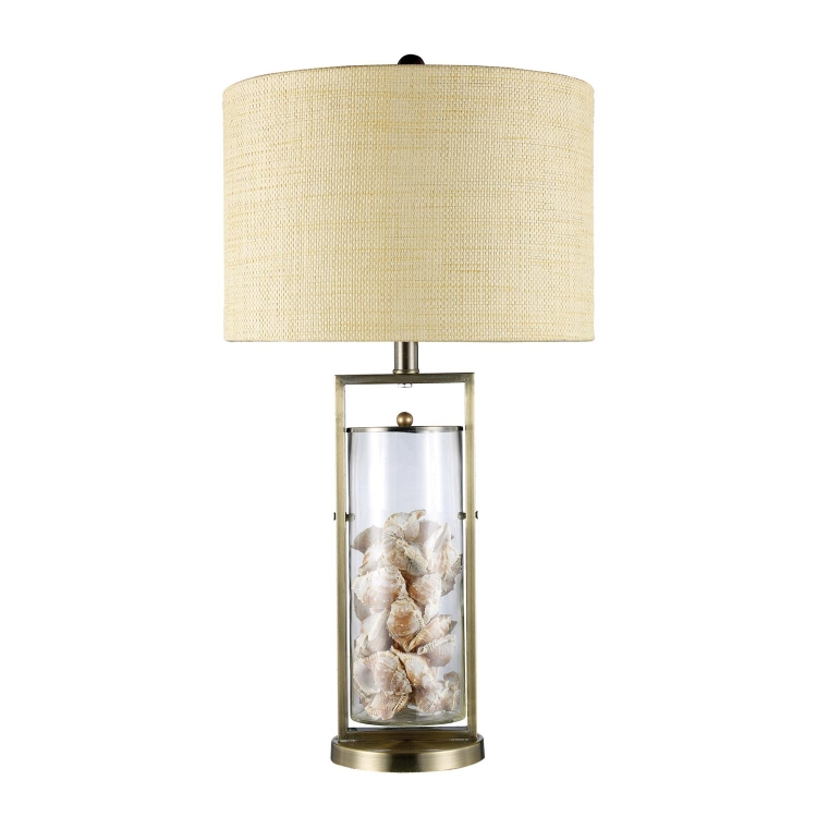 D1978 Millisle Table Lamp - Antique Brass and Clear Glass