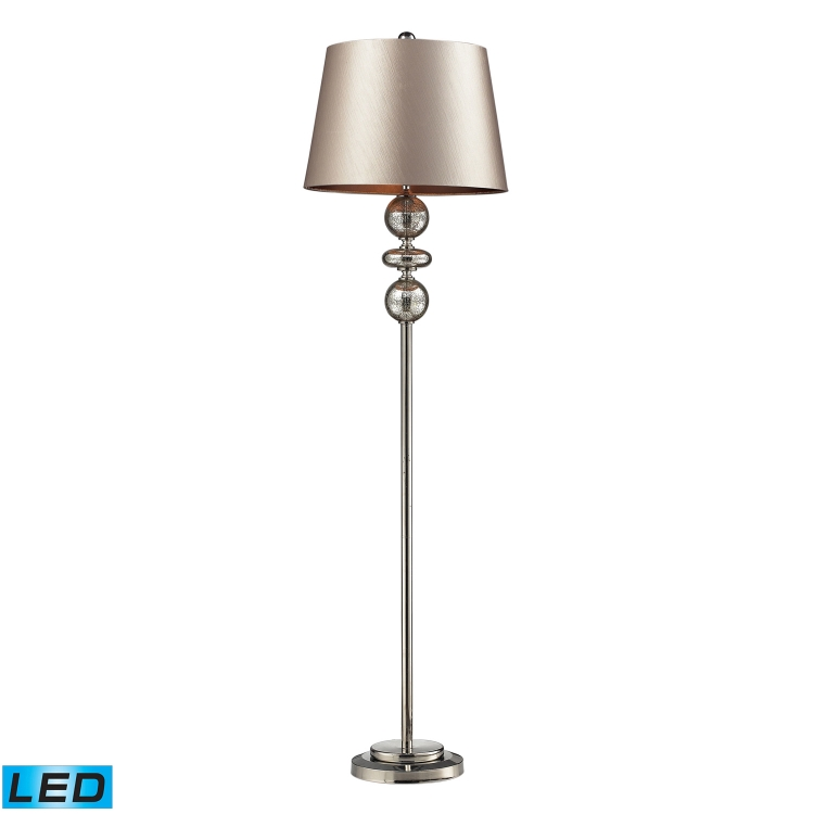 D2228-LED Hollis Floor Lamp - Antique Mercury Glass and Polished Nickle
