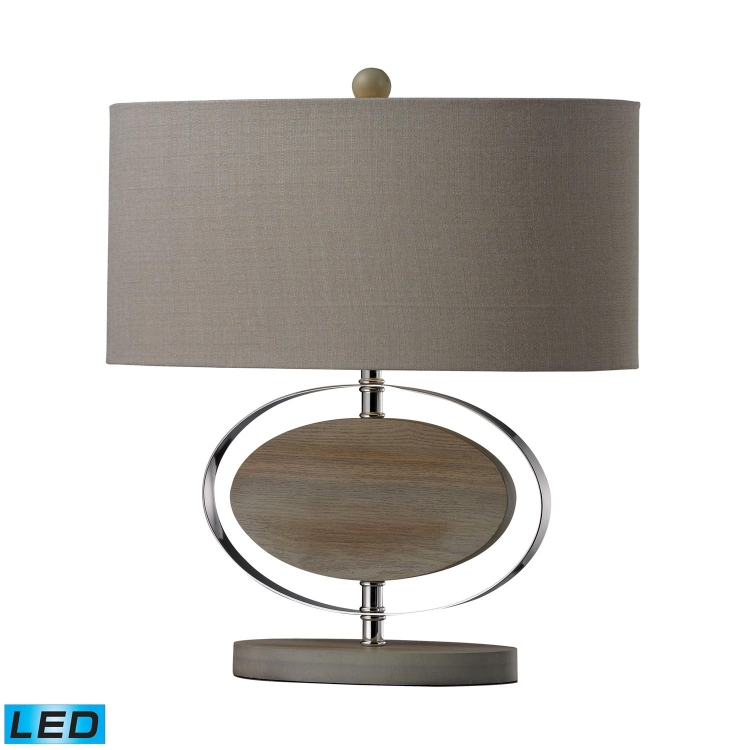 D2296-LED Hereford Table Lamp - Bleached Wood with Chrom