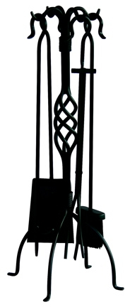 5 Pc Black Wrought Iron Fireset With Center Weave-Uniflame