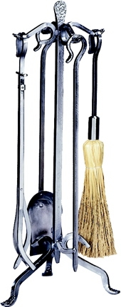 5 Pc Pewter W.i. Fireset With Crook Handle-Uniflame