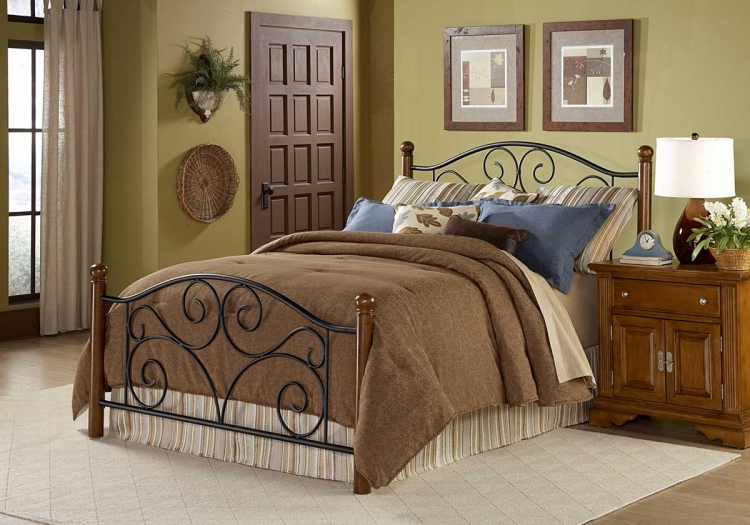 Doral Bed-Matte Black-Walnut