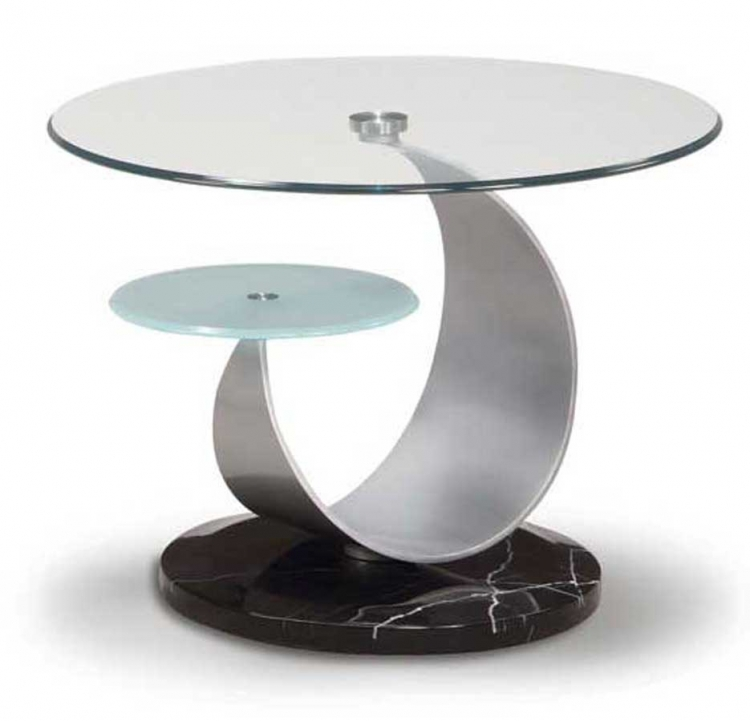 161 Oval End Table - Silver/Black