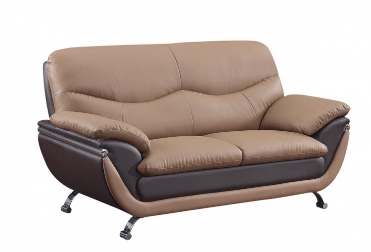 2106 Love Seat - Brown/Dark Brown - Global Furniture