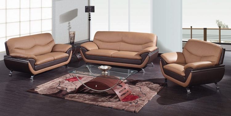 2106 Living Room Set - Brown/Dark Brown