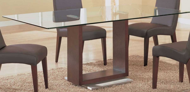 GF-388 Dining Table-Mahogany and Silver