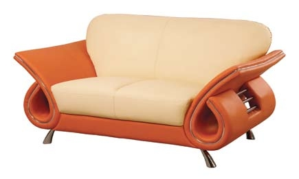 559 Love Seat - Beige/Orange