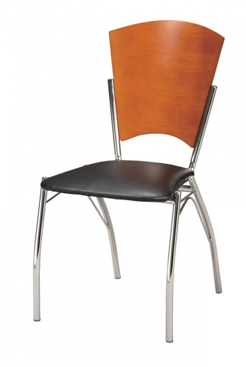 GF-802 Dining Chair - Black PVC with Cherry Wood