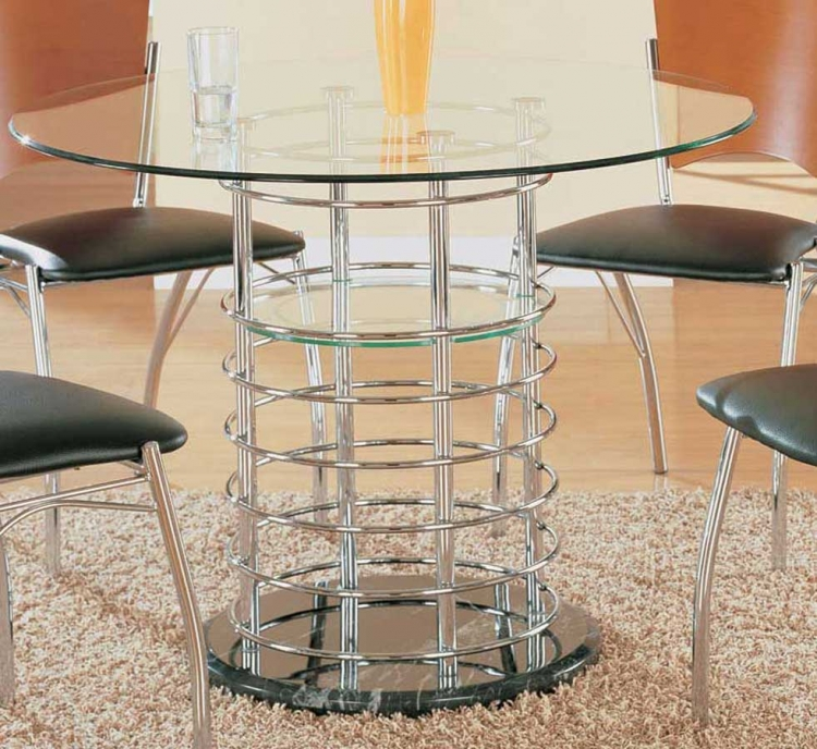 GF-802 Dining Table - Chome Pipes with Black Marble