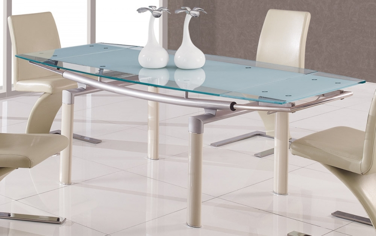 88 Glass Dining Table - Beige Leg - Global Furniture