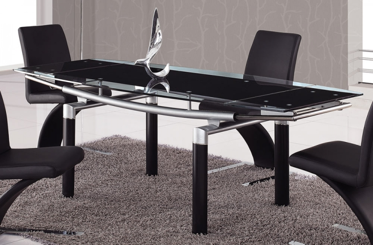 88 Glass Dining Table - Black Leg - Global Furniture