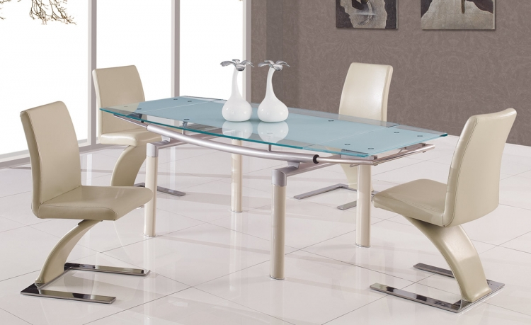 88 Dining Set - Beige Glass - Global Furniture