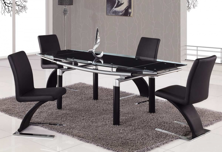 88 Dining Set - Black Glass - Global Furniture