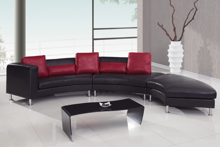 919 Sectional Set A - Black/Red - Global Furniture