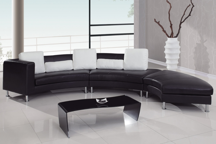919 Sectional Set A - Black/White - Global Furniture