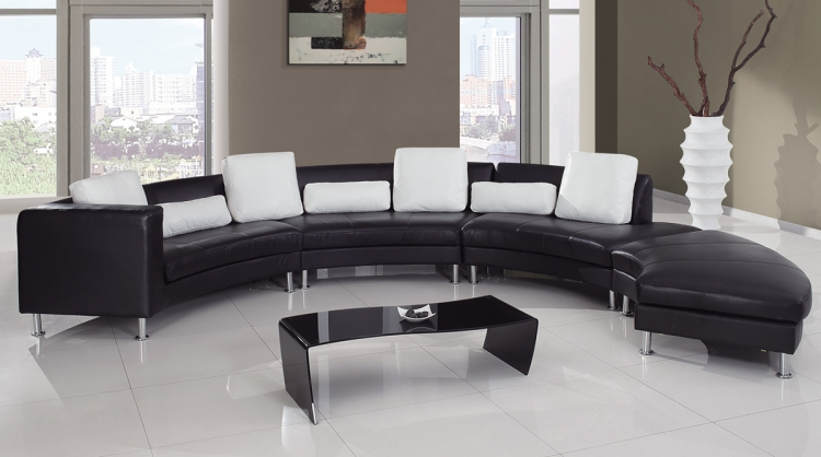919 Sectional Set B - Black/White - Global Furniture