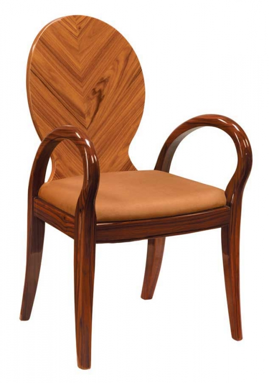 D92 Arm Chair-Brown Microfiber with Kokuten Wood