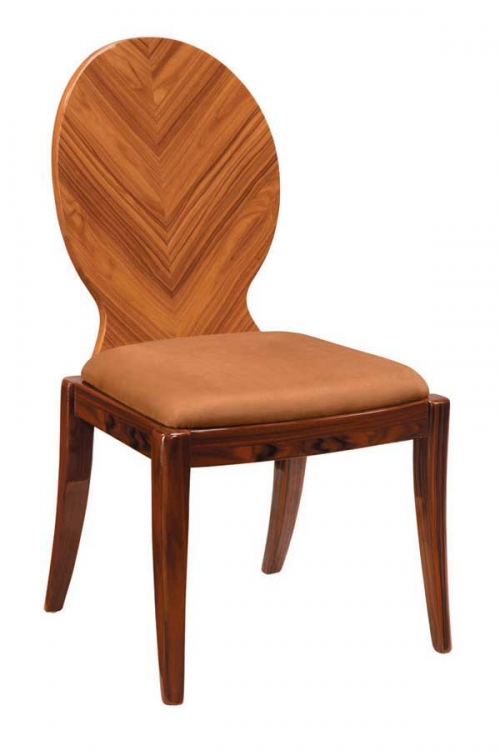 D92 Dining Chair - Brown Microfiber with Kokuten Wood