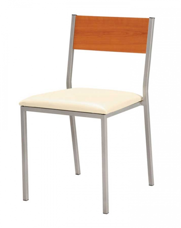 GF-960 Dining Chair-Beige PVC cushion with Cherry Wood