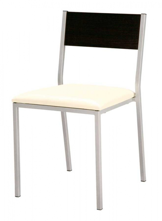 GF-960 Dining Chair-Beige PVC cushion with Wenge wood