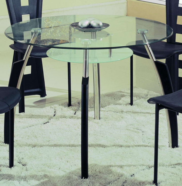 A08 Dining Table - Chrome with Black Wood