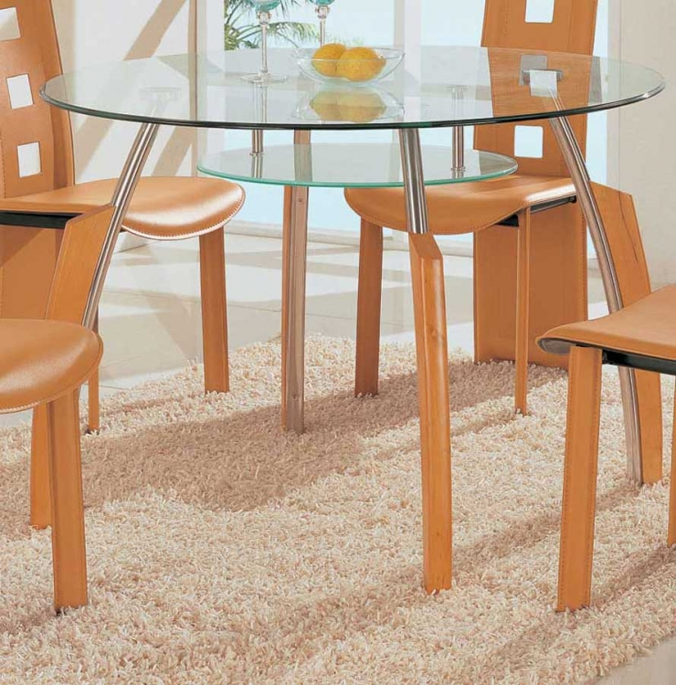 GF-A08 Dining Table - Chrome with Beige Wood
