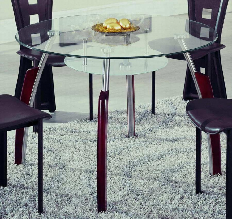 GF-A08 Dining Table - Chrome with Mahogany Wood