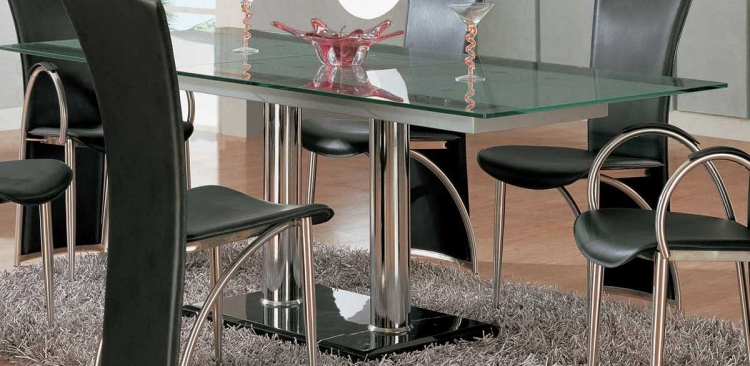 GF-A11 Dining Table - Chrome Legs/Glass Top