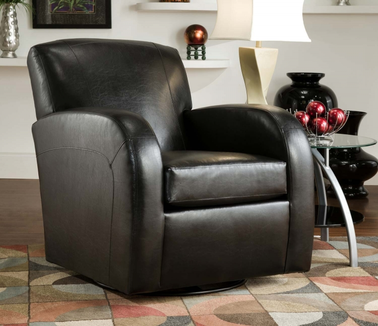 1500 Swivel Chair - Bonded Leather - Black - Global Furniture
