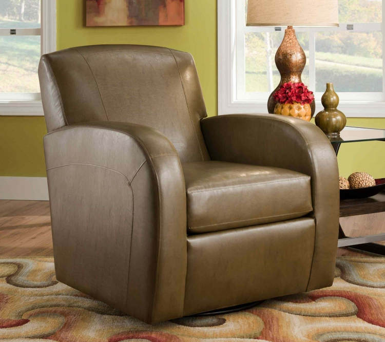 1500 Swivel Chair - Bonded Leather - Brown - Global Furniture