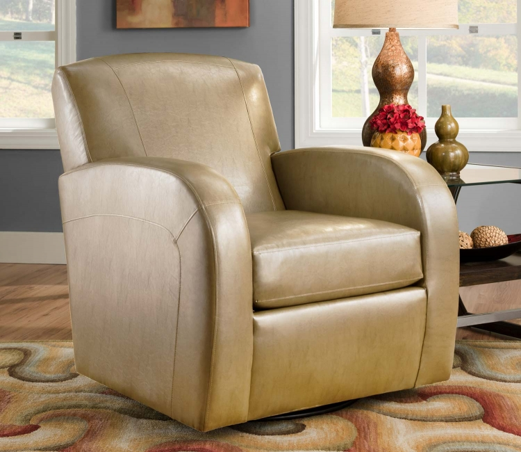 1500 Swivel Chair - Bonded Leather - Camel - Global Furniture