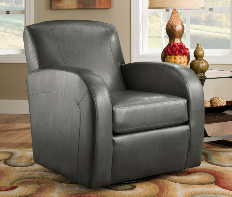 1500 Swivel Chair - Bonded Leather - Grey - Global Furniture