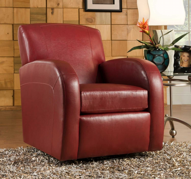 1500 Swivel Chair - Bonded Leather - Red - Global Furniture