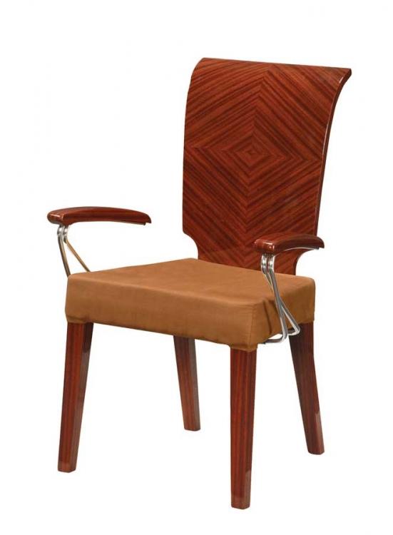 Adriana Arm Chair-Brown Microfiber with Zebrano Wood