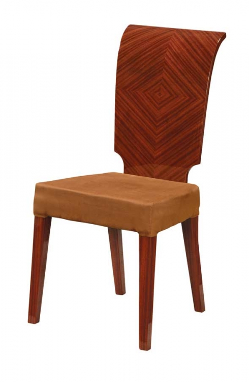 Adriana Dining Chair-Brown Microfiber with Zebrano Wood