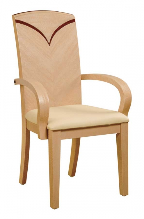 Linda Arm Chair - Beige PVC with Light Oak Wood
