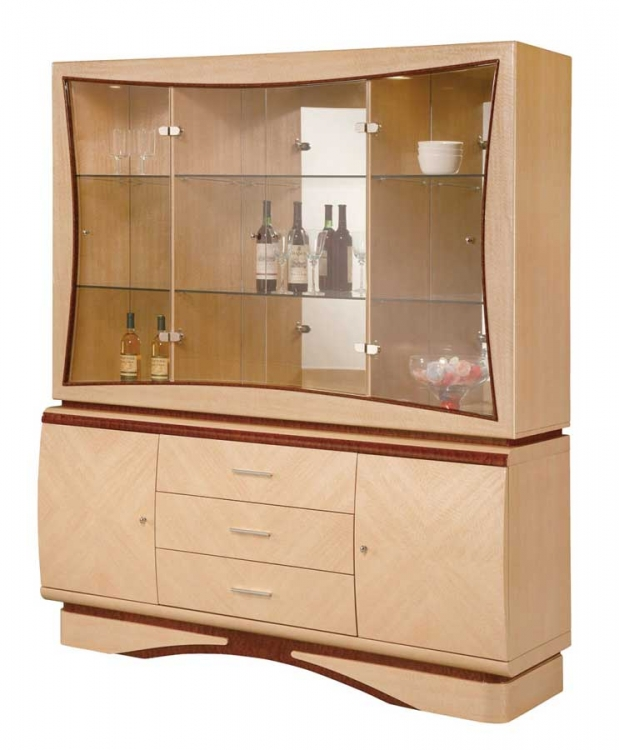 Linda China Cabinet - Light Oak with Cherry