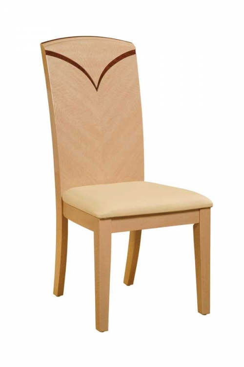 Linda Side Chair - Beige PVC with Light Oak Wood
