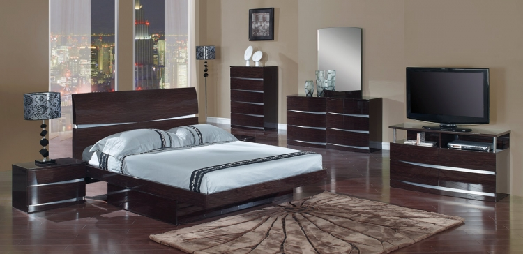 Aurora Platform Bedroom Set - Wenge - Global Furniture