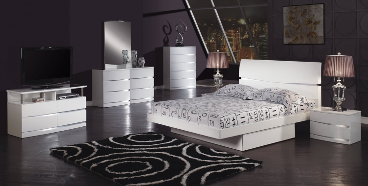 Aurora Platform Bedroom Set - White