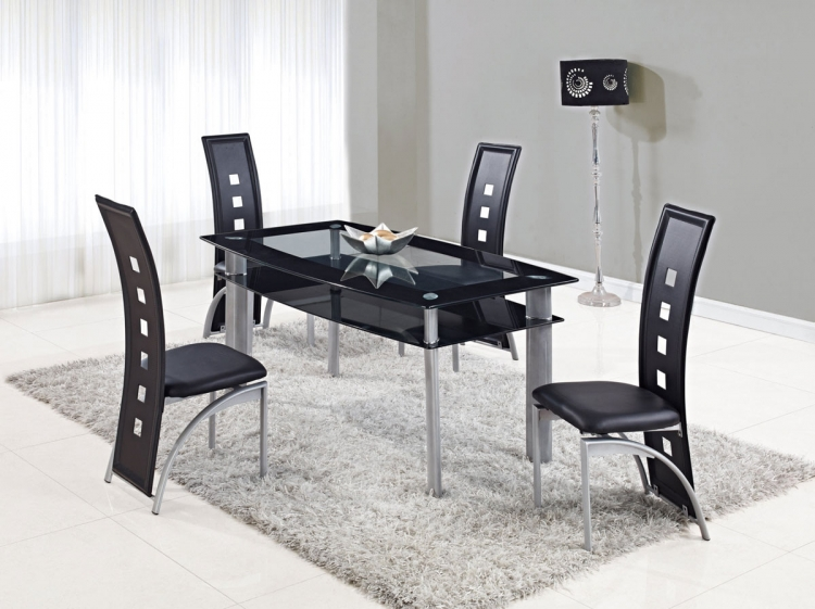 1058DT Dining Set - Vinyl/Black - Metal Legs - Global Furniture