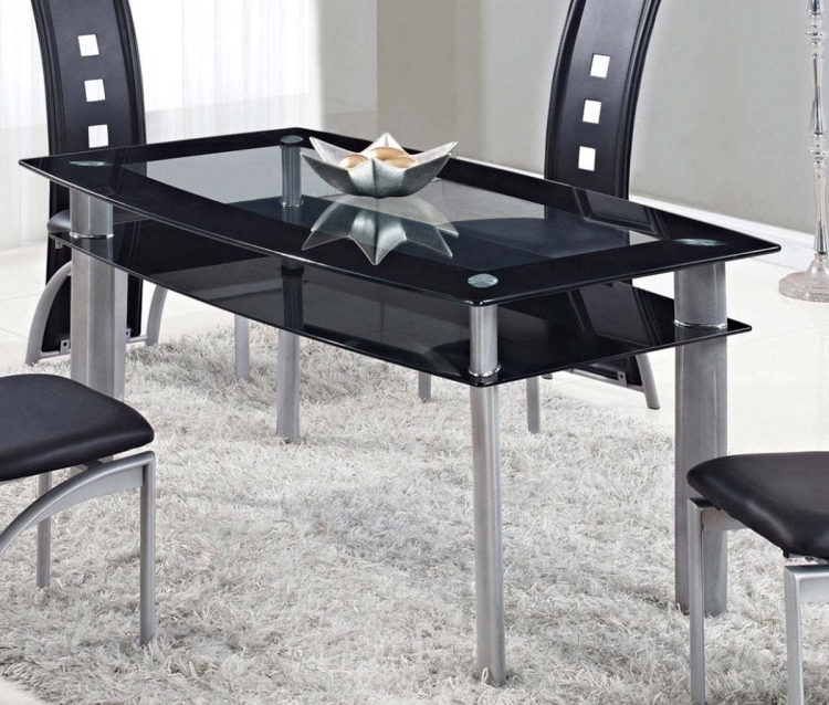 1058DT Dining Table - Clear Welt/Black Trim - Metal Legs - Global Furniture
