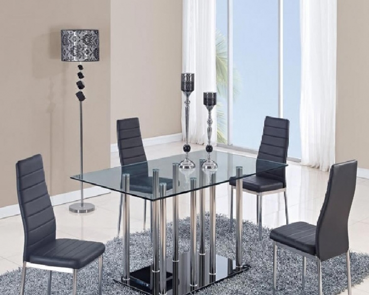 368DT Dining Set - Vinyl - Black/Metal Legs - Global Furniture